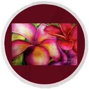 Pink And Red Plumerias Round Beach Towel
