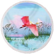 Pink Burst Of The Roseate Spoonbill Round Beach Towel
