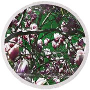 Pink Bush Round Beach Towel