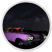 Pink Cadillac In The Desert Under The Milky Way Round Beach Towel