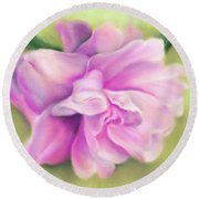 Pink Camellia With Leaves Round Beach Towel