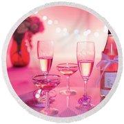 Pink Champagne Round Beach Towel