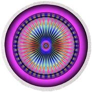 Round Beach Towel featuring the digital art Pink Circus Sun  by Visual Artist Frank Bonilla