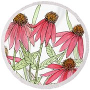 Pink Coneflowers Gather Watercolor Round Beach Towel