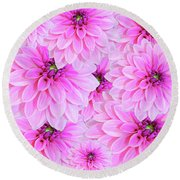 Pink Dahlia Flower Design Round Beach Towel