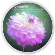 Pink Dahlia Gratitude Artwork Round Beach Towel