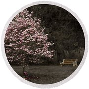 Pink Dogwood Tree And A Bench Round Beach Towel