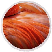 Pink Feathers Round Beach Towel