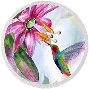 Pink Flower For Hummingbird Round Beach Towel