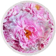 Pink Flowers Everywhere Round Beach Towel