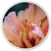 Pink Hibiscus Flower Round Beach Towel