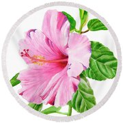 Pink Hibiscus With White Background Round Beach Towel