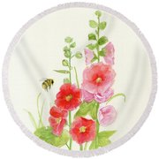 Pink Hollyhock Watercolor Round Beach Towel