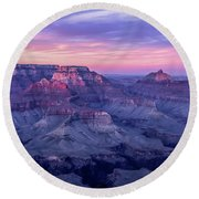 Pink Hues Over The Grand Canyon Round Beach Towel