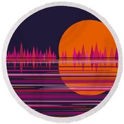 Pink Moonrise Abstract Round Beach Towel