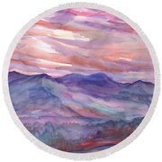 Pink Mountain Landscape Round Beach Towel