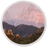 Round Beach Towel featuring the photograph Pink Pena Montanesa by Stephen Taylor