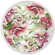 Pink Peony Blossoms Round Beach Towel