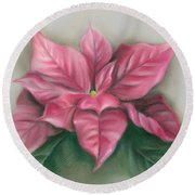 Pink Poinsettia Round Beach Towel