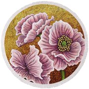 Round Beach Towel featuring the painting Pink Ponderings by Amy E Fraser