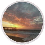 Pink Rippling Clouds At Sunrise Round Beach Towel