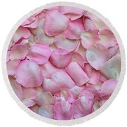 Pink Rose Petals Round Beach Towel