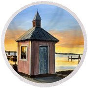 Round Beach Towel featuring the painting Pink Shed by William Brody