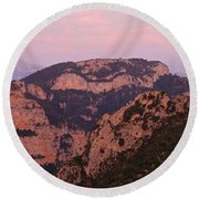 Round Beach Towel featuring the photograph Pink Skies Above Pena Montanesa by Stephen Taylor