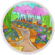 Pink Umbrella And Lilies Round Beach Towel