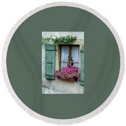 Pink Window Box Round Beach Towel