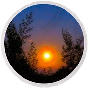 Round Beach Towel featuring the photograph Pisces Full Moon Rise by Judy Kennedy