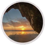 Pismo Caves Sunset Round Beach Towel