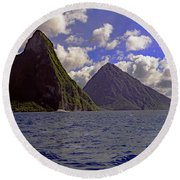 Round Beach Towel featuring the photograph Pitons by Tony Murtagh