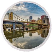 Pittsburgh River Rescue  Round Beach Towel