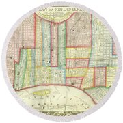 Plan Of Philadelphia, 1860 Round Beach Towel