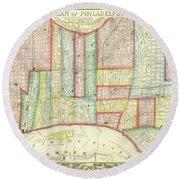 Plan Of Philadelphia, 1860 Round Beach Towel