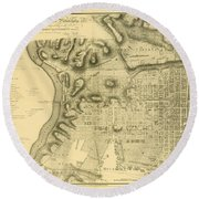 Plan Of The City Of Philadelphia And Its Environs Shewing The Improved Parts, 1796 Round Beach Towel