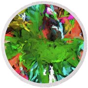 Plant With The Green And Turquoise Leaves Round Beach Towel