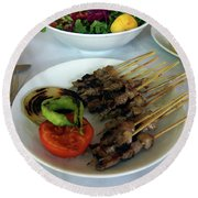 Plate Of Kebabs And Salad For Lunch Round Beach Towel