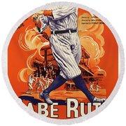 Play Ball Starring Babe Ruth 1920 Round Beach Towel