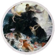 Play Of The Nereides, 1886 Round Beach Towel