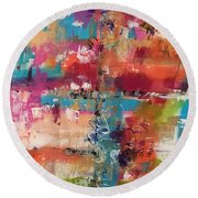 Playful Colors Round Beach Towel