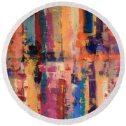 Playful Colors Iv Round Beach Towel