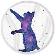 Playful Galactic Cat Round Beach Towel