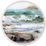 Overlooking Plymouth Beach Round Beach Towel