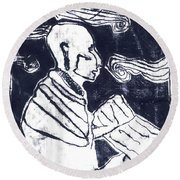 Poet Reading To Wind Clouds Otdv3 13 Round Beach Towel