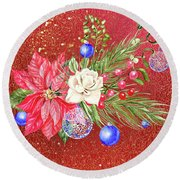 Poinsettia With Blue Ornaments  Round Beach Towel