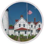 Point Iroquois Lighthouse Round Beach Towel