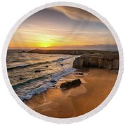 Pointe Du Percho And Port Blanc Round Beach Towel