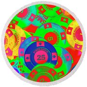 Poker Stacks Round Beach Towel